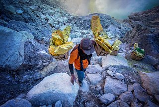 Вулкан Иджен вулкана Иджен Синим пламенем: покорение вулкана Иджен на острове Ява Dobycha sery na vulkane Idzhen 8
