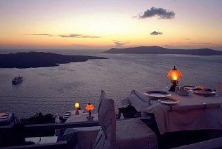 Ужин в городе Ия на островах Санторини