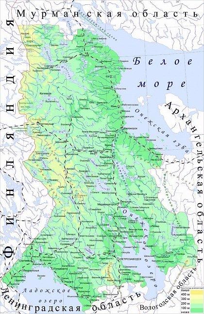 Физическая карта Карелии