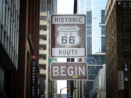 Начало шоссе 66 в Чикаго
