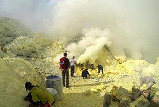 Вулкан Иджен вулкана Иджен Синим пламенем: покорение вулкана Иджен на острове Ява Dobycha sery na vulkane Idzhen 6