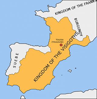 Королевство вестготов в 500 г.