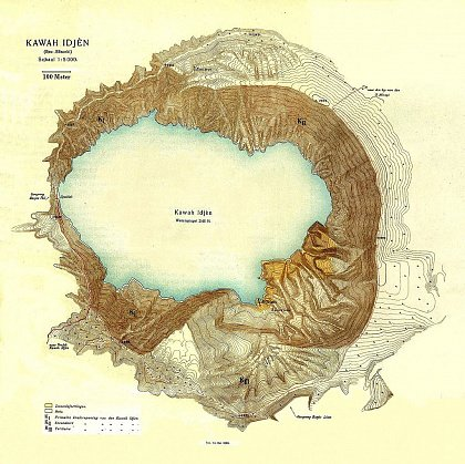 Карта кратера вулкана Иджен Синим пламенем: покорение вулкана Иджен на острове Ява Karta kratera