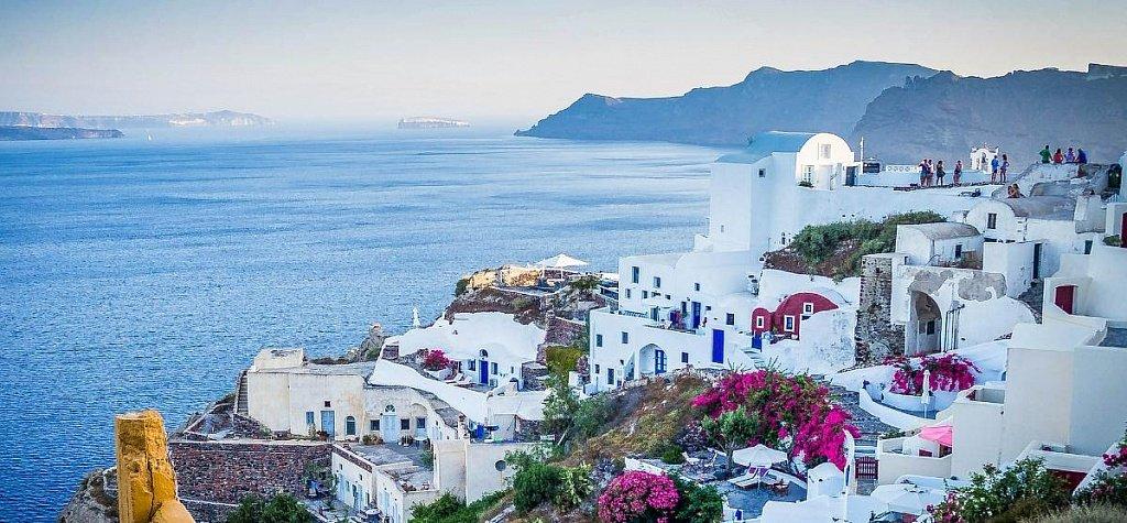 картинка фотография курорта Санторин, остров в Греции