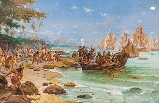 Мореплаватель Педру Алвареш Кабрал приплывает к берегам Бразилии в 1500 году