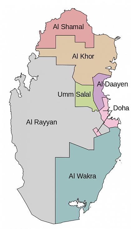 Административная карта Катара после 2004 года