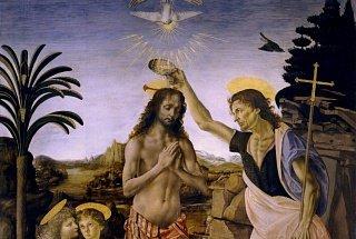 Фрагмент картины Верроккьо «Крещение Христа»